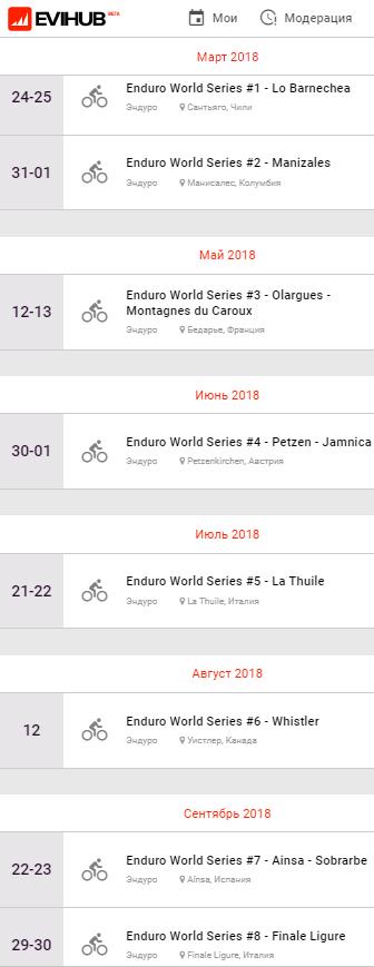 World events: Анонсирован календарь EWS 2018