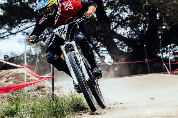 Lopes on his way to winning the 2014 Sea Otter Classic Downhill.